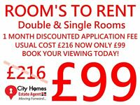 ROOMS TO RENT, £99 DOCUMENT FEE DEAL