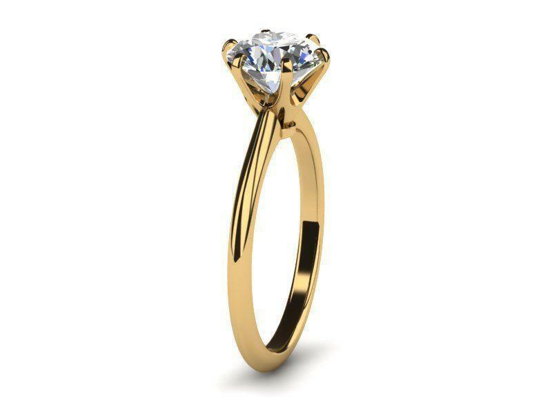 Diamond Round Ring 18k Yellow Gold Genuine 1 Ct Lady Smooth Knife Edge Si1