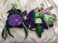 Halloween costumes 1-2 and 5-6 Spider and Frankenstein - brand new