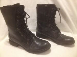 """""""Steps by Hush Puppies"""" Waterproof Black Leather Combat Boots"""