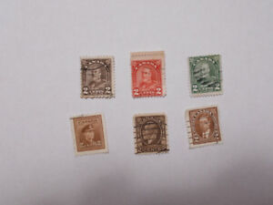 6 - 2 Cent Early Canadian Stamps