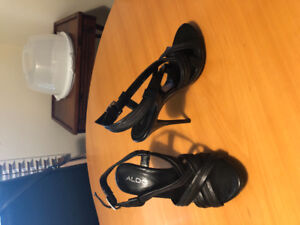 Aldo black leather high heel sandals - size 37 - used once