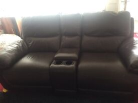 2 Seater leather sofa w/ cup holders
