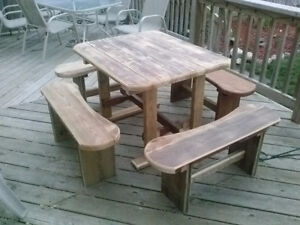 5 piece patio table and bench set