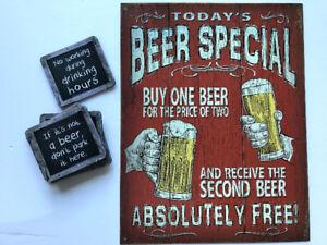 Beer Vintage style + 6 bar coasters