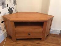 Oak wood corner TV unit with draw