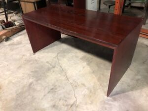 Cherry Finish Ikea Office Desk with Lighted Display cabinets