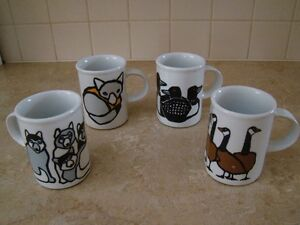 Lot de 4 tasses / set of 4 Marc Tetro mugs *** vintage ***