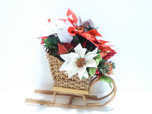 CHRISTMAS HANDCRAFTED SLEIGH WITH DECORATIONS