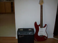 FENDER  ( SQUIER )  ELECTRIC  GUITAR  AND  AMPLIFIER