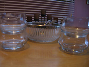 Glass salad bowl and serving dishes