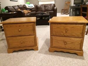Solid oak end tables/nightstands