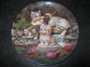 Am Seerosenteich Lily Pond Kittens Cats Collector Plate