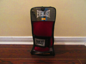 Red and black Everlast 12 oz boxing gloves (like new)