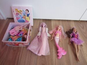 BARBIES WITH BOX FULL OF CLOTHES - $15.00 for LOT