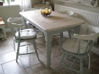 Beautiful duck egg blue solid pine Table and Chairs with FREE matching mirror
