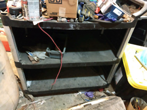 35wx20 dx33 h heavy poly shop cart wirh 3 shelves.