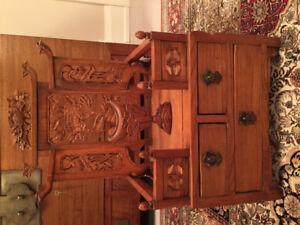 Antique Chinese Carved Elmwood Vanity