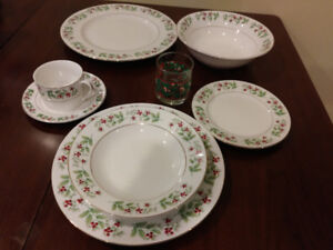 Christmas dishes, holly pattern.
