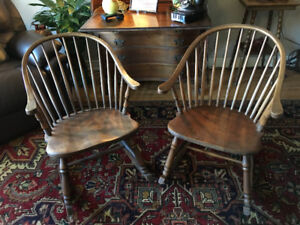 Antique Continuous Arm Windsor Back Rocking Chairs