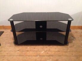 Glass three tier TV table