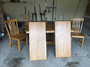 Solid Oak Dining Table and 6 Chairs Regina Regina Area image 2