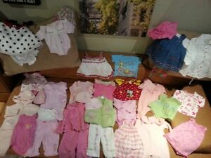 $ 0.68 a piece, 220 pieces of BABY GIRL clothes, CLEAN, NO STAIN