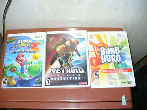 Wii, 3 game Lot. metroid 3,super mario galaxy 2,band hero.