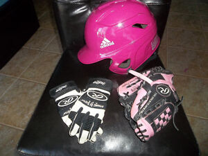 Baseball pink Adidas helmet,pink glove & pair of gloves, $30 OBO