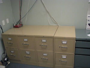 Two drawer metal, vertical filing cabinets