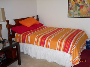Double Bed and Box Spring/Wood Headboard