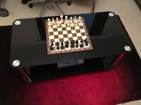 Black Glass Two Tier Coffee Table