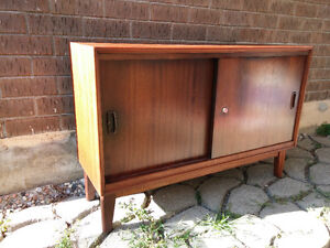 teak mid century small credenza / sideboard