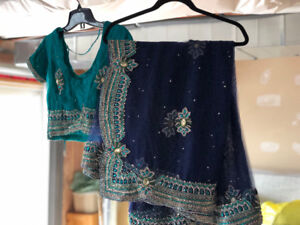 Dark Blue and Turquoise Net Sari with Blouse