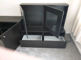 5ft bed and mattress as new, corner sofa by Dunelm, wall units, etc.