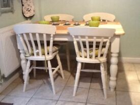 Pine farmhouse dining table (4) chairs