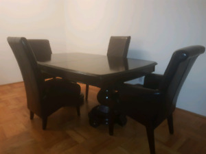 Dining table - Solid Wood + 10 Real lether chairs