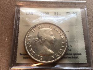 1958 silver $1 ICCS MS-63