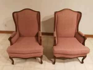French Provincial Set - 2 Wingback Chairs & Chesterfield Sofa