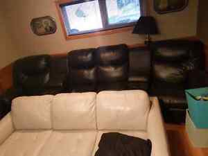 Theater sectional pilsner leather