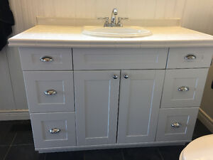 "White 48"" Bathroom Vanity includes sink and taps"