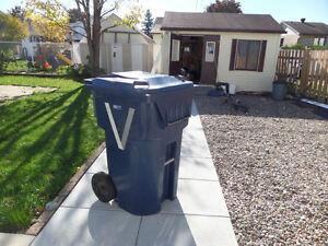 large blue bin on wheels