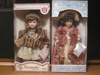 2 GORGEOUS PORCELAIN DOLLS ~ Never Out Of Boxes!!!
