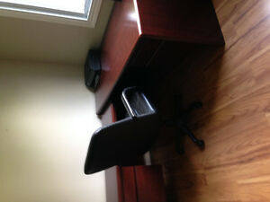 Office desk, with matching book shelf and black leather chair