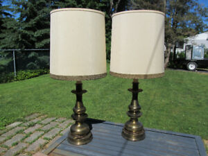 Vintage Brass Table Lamps - Set of 2