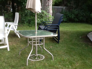 Patio Table with Parasol and Stand