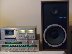 Vintage Silver Sony V4 AM/FM Stereo Receiver with components.