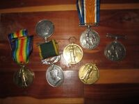 WW1 BRITISH CANADIAN MILITARY MEDALS  7 MEDALS FOR ONLY $250