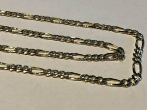 "#1594 10K SOLID GOLD FIGARO CHAIN, 30"" IN LENGTH."