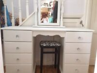 Stunning high quality solid pine dressing table, mirror and stool hand painted in Annie Sloan